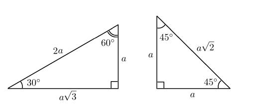 Прямоугольные треугольники с углами 30, 60, 90 и 45, 45, 90 градусов